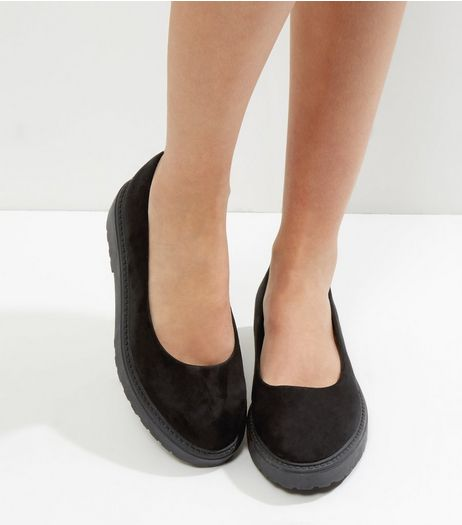 Wide Fit Black Suedette Chunky Platform Pumps | New Look