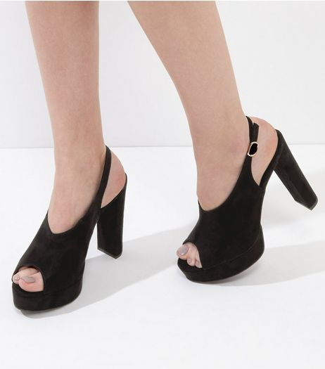 Black Suedette Peep Toe Sling Back Heels | New Look