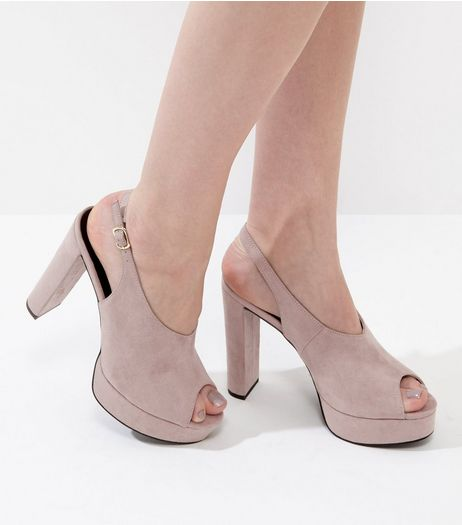Light Brown Suedette Peep Toe Sling Back Heels | New Look