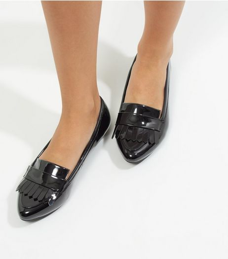 Wide Fit Black Patent Pointed Loafers | New Look