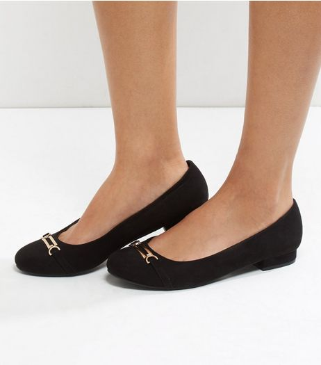 Wide Fit Black Suedette Metal Bar Pumps | New Look