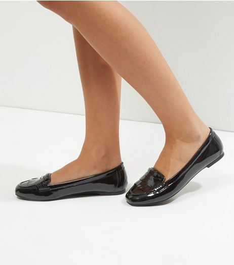 Wide Fit Black Patent Fringe Front Loafers | New Look