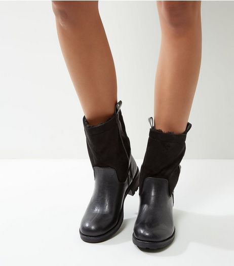 Black Faux Shearling Lined Ankle Boots | New Look
