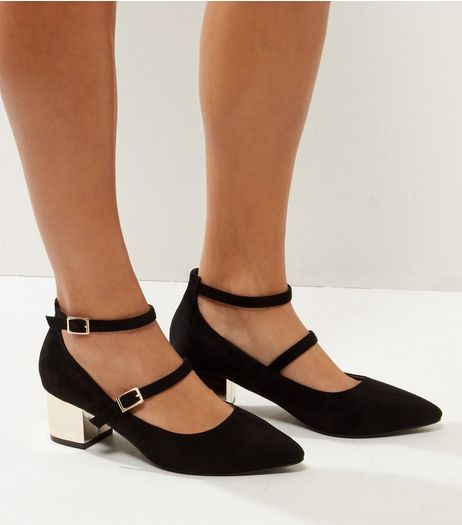 Wide Fit Black Metal Block Heels  | New Look