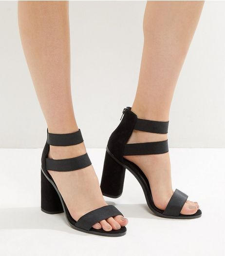 Black Suedette Elasticated Heeled Sandals | New Look