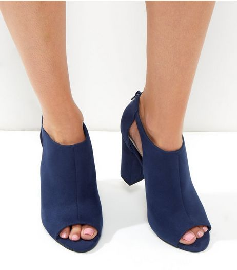 Blue Comfort Suedette Cut Out Block Heel  | New Look