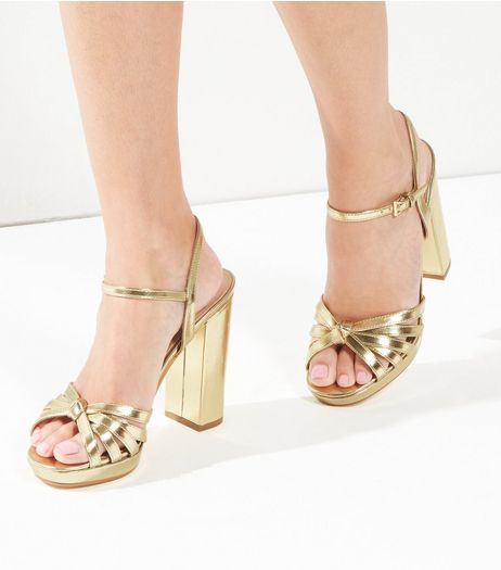 Gold Metallic Knot Platform Ankle Strap Heels | New Look