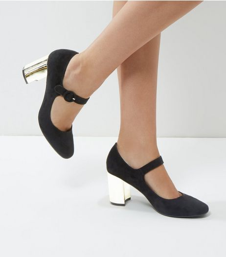 Black Suedette Metal Heel Court Shoes | New Look