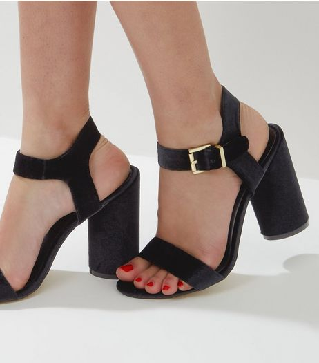 Black Velvet Ankle Strap Block Heels | New Look
