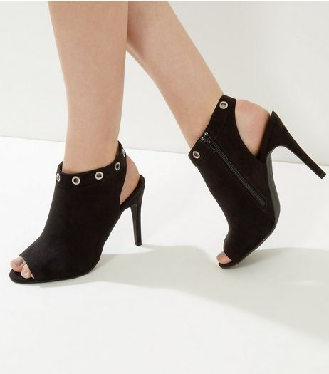 Black Suedette Eyelet Heeled Sandals | New Look