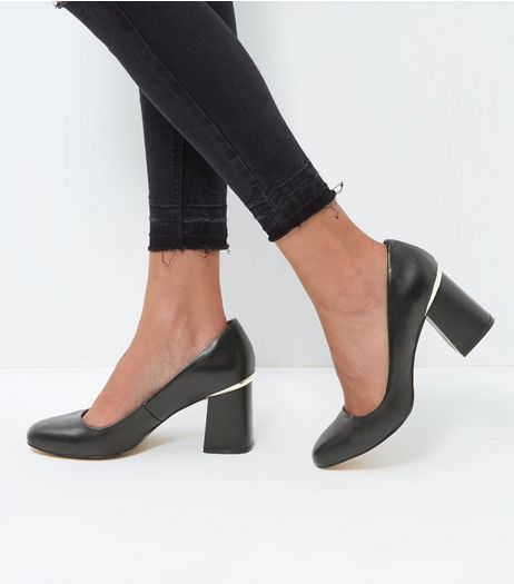 Black Leather Metal Trim Block Heel Court Shoes  | New Look