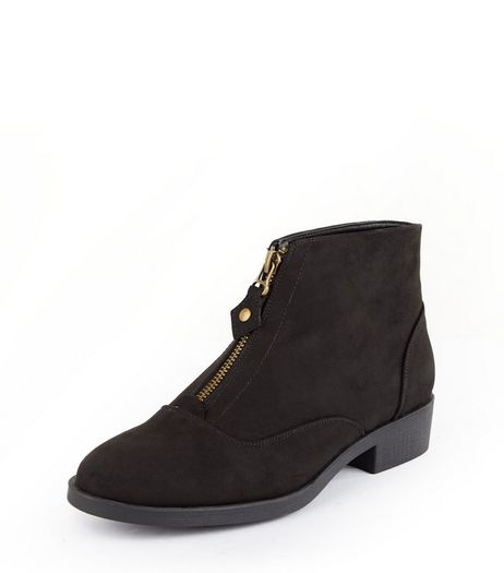 Teens Black Suedette Zip Front Ankle Boots | New Look