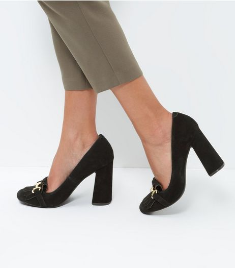 Black Suede Flared Heel Loafers | New Look