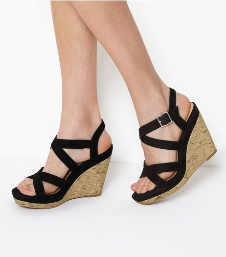 Black Suedette Cross Strap Wedges  | New Look