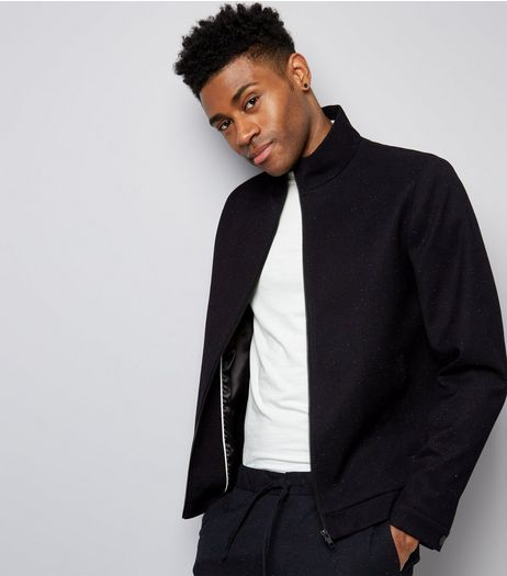 Navy Marl Tailored Zip Front Jacket | New Look
