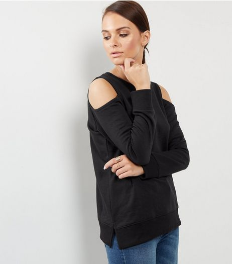 Black Cold Shoulder Sweater | New Look