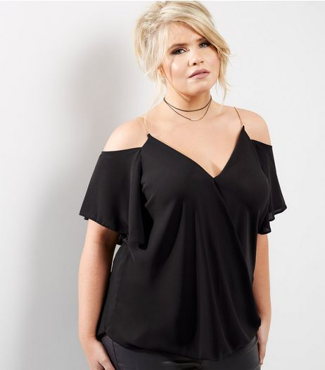 Curves Black Chain Strap Cold Shoulder Wrap Front Top | New Look