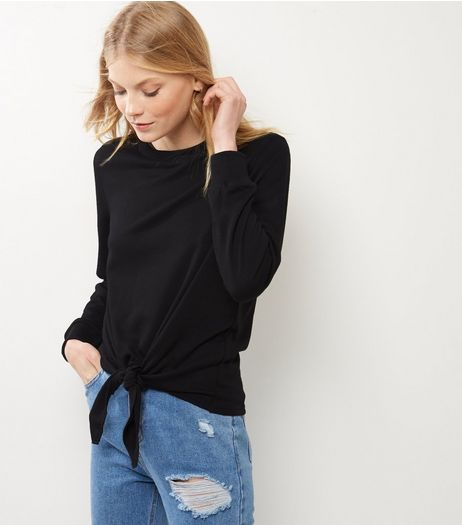 Black Tie Front Long Sleeve Sweater  | New Look