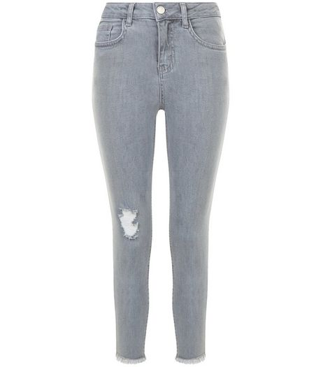 Girls Grey Ripped Knee Rolled Hem Skinny Jeans | New Look