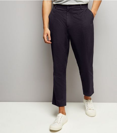 Black Cropped Cotton Slim Leg Trousers | New Look