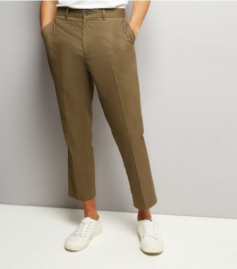 Olive Green Cropped Cotton Slim Leg Trousers | New Look