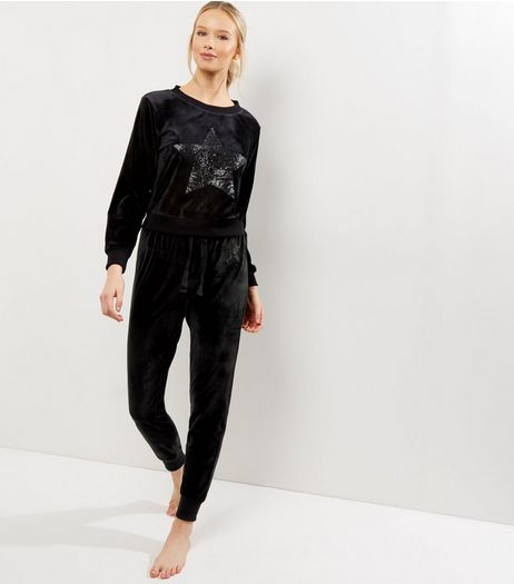 Black Sequin Star Velvet Joggers | New Look