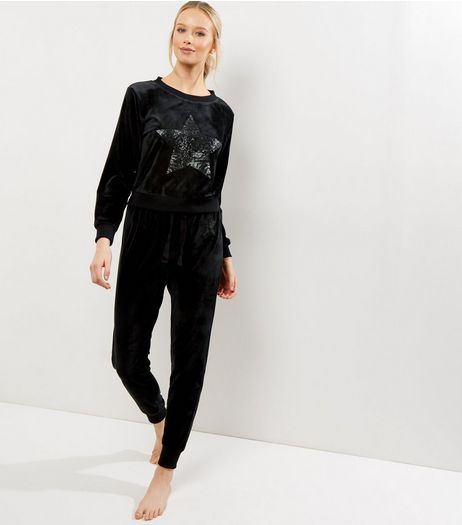 Black Sequin Star Velvet Sweater | New Look