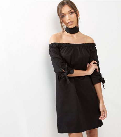 Black Tie Sleeve Bardot Neck Dress | New Look