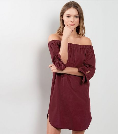 Burgundy Tie Sleeve Bardot Neck Dress | New Look
