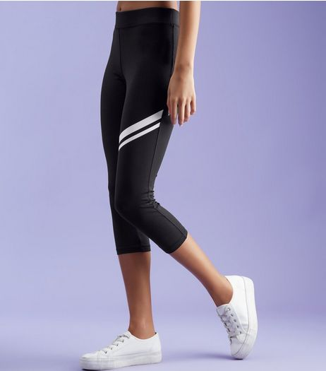 Black Double Stripe Cropped Sports Leggings  | New Look