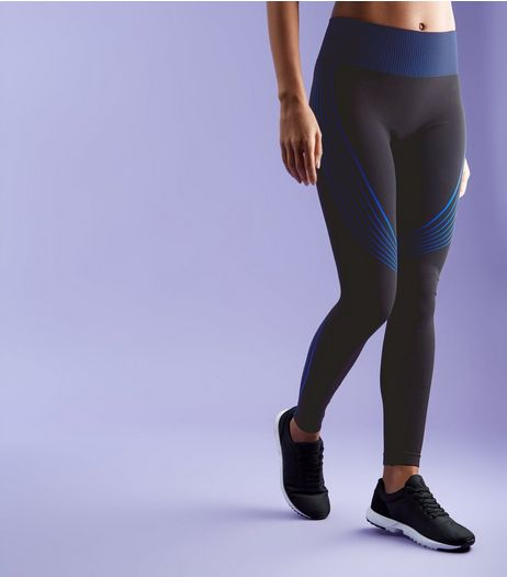 Black Contrast Stripe Sports Leggings | New Look
