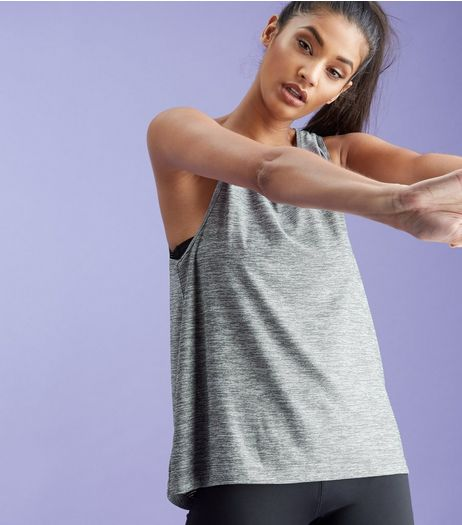 Dark Grey Burnout Open Back Sleeveless Sports Top  | New Look
