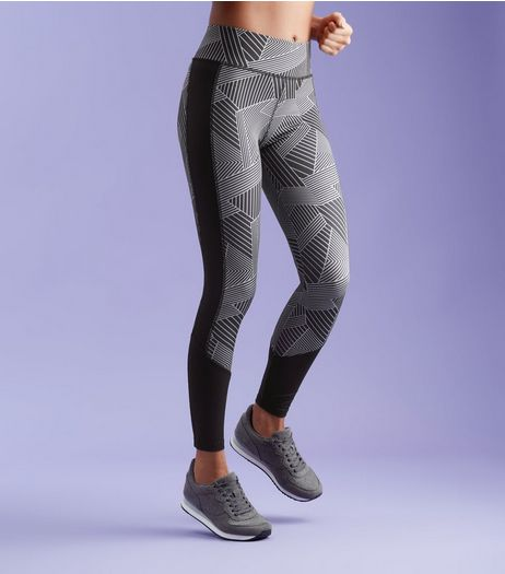 Black Geo Print Panel Sports Leggings  | New Look
