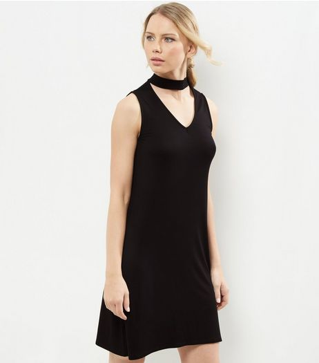 Black Sleeveless Choker Neck Swing Dress | New Look