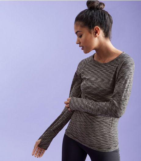 Dark Grey Space Dye Long Sleeve Sports Top  | New Look