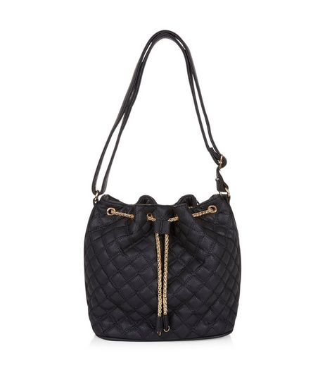 Black Quilted Drawstring Bucket Bag | New Look
