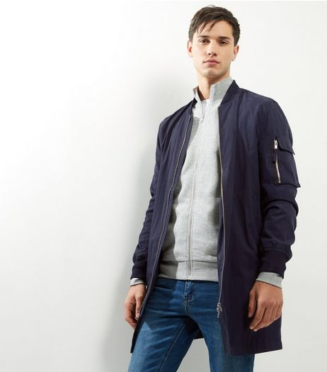 Navy Longline Bomber Jacket | New Look