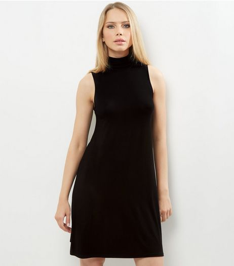 Black Funnel Neck Sleeveless Swing Dress | New Look