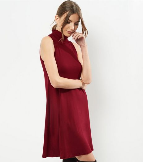 Burgundy Funnel Neck Sleeveless Swing Dress | New Look