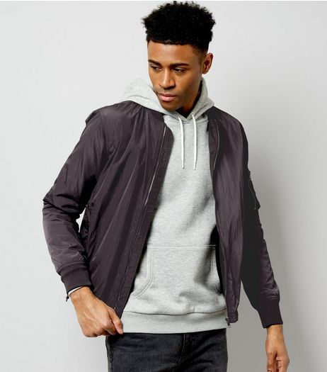 Dark Grey Pocket Sleeve High Shine Bomber Jacket | New Look