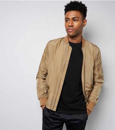 Camel Pocket Sleeve High Shine Bomber Jacket | New Look