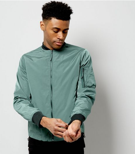 Olive Green Pocket Sleeve High Shine Bomber Jacket | New Look