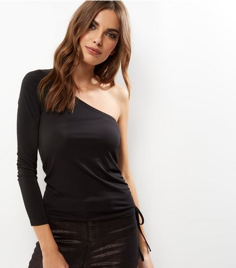 Black Off The Shoulder Ruched Side Top  | New Look