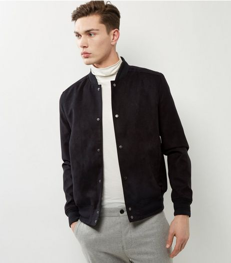 Black Suedette Bomber Jacket | New Look