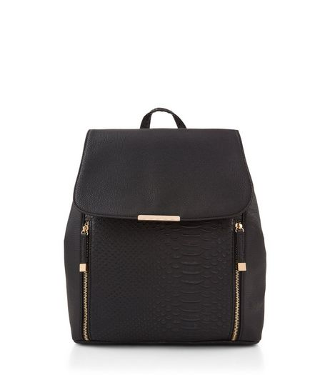 Black Snakeskin Backpack | New Look