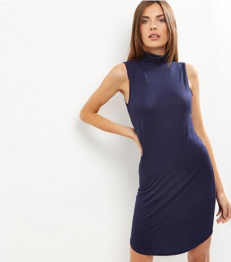 Navy Funnel Neck Curved Hem Bodycon Dress  | New Look