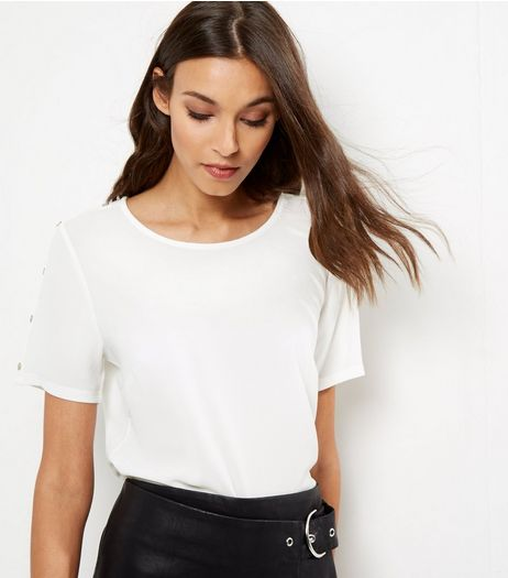 Cream Stud Sleeve T-shirt | New Look