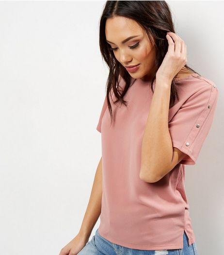 Mid Pink Stud Sleeve T-Shirt  | New Look