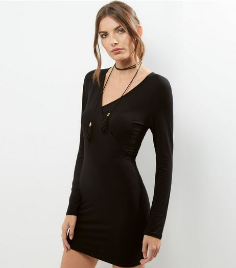 Black V Neck Wrap Front Bodycon Dress | New Look