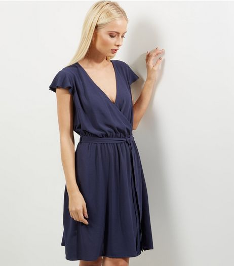 Navy Crepe Wrap Front Frill Trim Dress | New Look